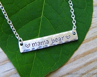 Mama Bear Stamped Necklace, mother, mom, protector, fierce