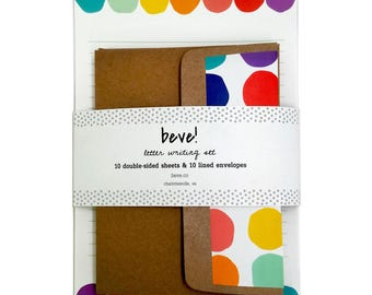 Stationery Set in Rainbow - Rainbow Dot Letter Writing Set - Stationery Paper
