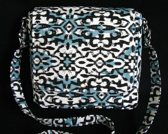 Large messenger bag- Blue, black and white print canvas