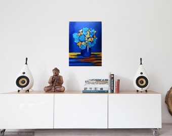"Feeling Blue. 18"" X 24"" gallery wrapped canvas"