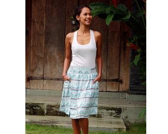 Women's Skirt / Mint Green Skirt / Summer Skirt / Midi Skirt in Green and White / Ikat Print Midi Skirt with Pockets / Elastic Waist Skirt