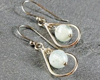 Aquamarine Earrings, silver earrings, aqua-blue gemstone, pale blue, teardrop frame, fish hook ear wires, holiday gift, March birthstone