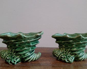 Vintage Green McCoy Planter, Set of TWO Matching Planters, Green Indoor Planter, Cornucopia Planter
