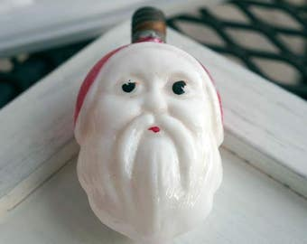 Vintage Santa Head Christmas light bulb Red and White
