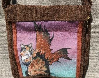 calico cat satchel, tapestry satchel, cat messenger bag, tapestry satchel, calico cat bag, unique messenger bag