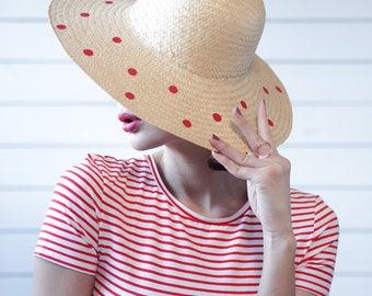 Vintage hand painted natural beige straw red polka dot wide brim summer sun floppy hat