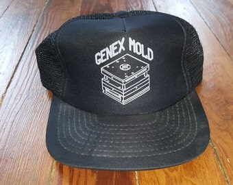 GENEX MOLD HAT // 80's Black Silver Industrial Trucker Hat Baseball One Size Fits All Vintage Canton Ohio Deadstock Punk Goth Geometric