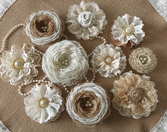 10 burlap and lace handmade flowers with pearl buttons wedding cake, bridal bouquets, headbands