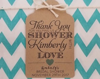 Wedding Gift Tags - Thank You Bridal Shower - Bridal Shower Favor Tags - Customizable Personalized (WT1711)
