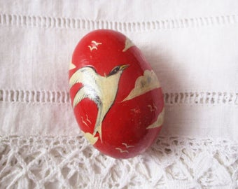 Vintage french wooden egg, Wood, 1940, Handmade painted, Red egg, Oeuf en bois peint, Birds