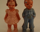 2 Vintage Hard Plastic Boy and Girl Dolls --3 3/4 Inches Tall, Pink and Blue, for Dollhouse or Diorama, Lots of Patina -- As Is