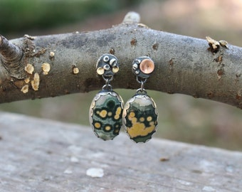Tidepools - Mixed Metal Barnacle and Ocean Jasper Earrings