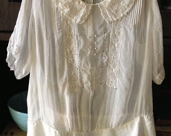 Vintage 1920s Gossamer Cotton Pintucked, Embroidered White Blouse