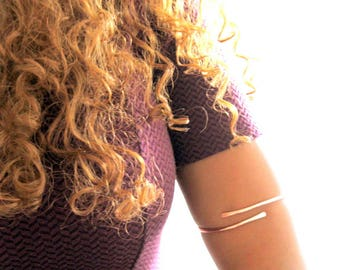 Not so Basic Upper Arm Cuff, arm band, hippie armband, boho jewelry, armlet, upper arm bracelet, rose gold, adjustable, gift summer jewelry