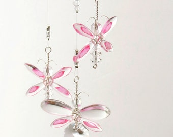 Pink Butterfly Mobile Crystal Suncatcher Baby Girl Gift Hanging Crystal Nursery Mobile Birthday Gift Angel Charm Fairy Window Decoration