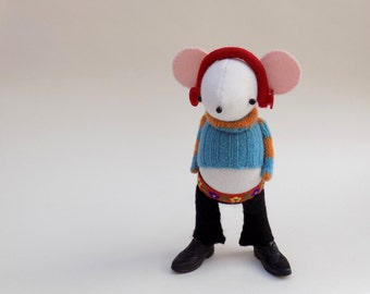 DJ  Mouse - Handmade plush mouse wearing woolly pullover, black felt flares and plastic shoes.