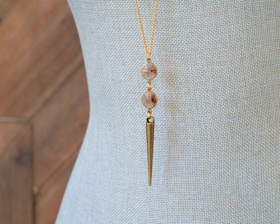 Long Gold Topaz Necklace - Long Gold Spike Necklace - November Birthstone Necklace - Lucite Necklace - Antique Gold Layering Jewelry