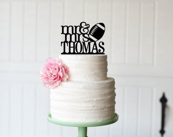 Mr and Mrs Football Wedding Cake Topper with YOUR Last Name - Football Cake Topper