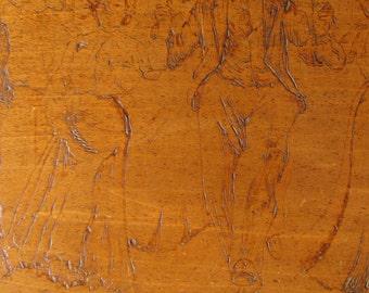 Flemish Art, Country Dance, Pyrography, Etched Honey-Toned Wood, c.1900, Original Patina, OOAK