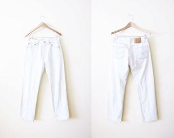Levis 501 Jeans / White Light Wash 501s / Vintage Levi's 501 Denim / Made in USA / Levis 28