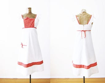 White Vintage Dress / 60s Dress / Peasant Dress / Red White Summer Dress / 1960s Sundress / Empire Waist Dress / Floral Dress