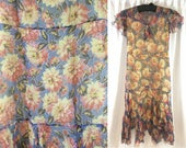 Fetching Floral Silk Chiffon 1930's Dress -Blue with Red and Yellow Dahlias, Flutter Sleeves & Bow
