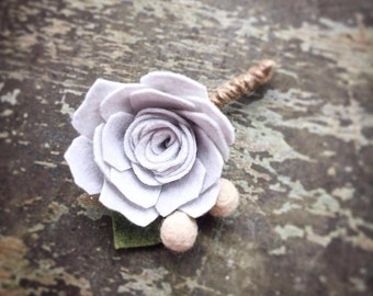 Felt Flower Boutonniere - Custom colors available