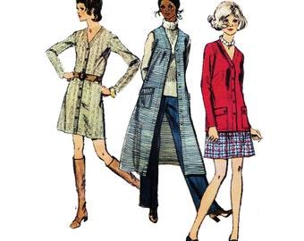 "1970 Duster/Long Vest Wardrobe, Long Sleeve /Sleeveless Dress, Cardigan Jacket, Easy A-line Skirt, Trousers, Simplicity 8974, Bust 38"" Uncut"