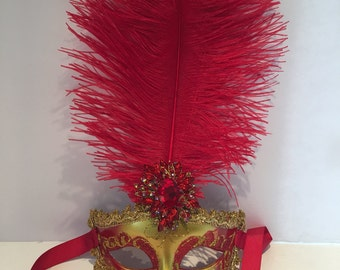 Red Mask -Red feather Mask - Venician mask- masquarade Mask- Costume party mask- masked ball- Masquerade Ball- Mardi Gras-Red Mask- Mardi