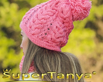 Pink hand knitted wool hat and scarf by SuperTanya made to order