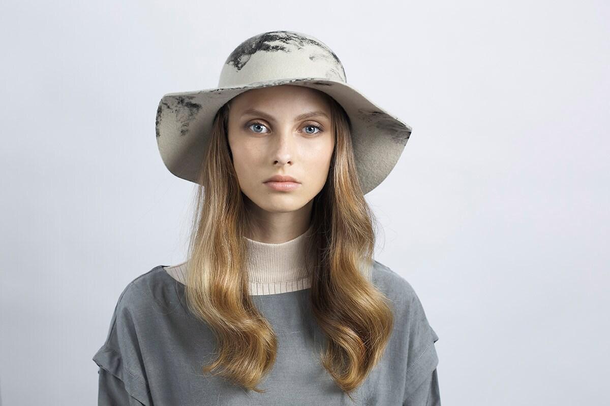 womens felt hat wide brim felt hat winter hat womens