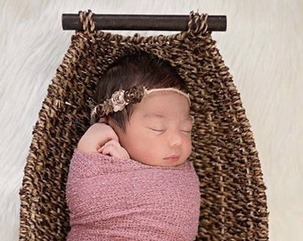 Tie Back Headband and Wrap. Baby Wrap and Headband Newborn Photo Prop Newborn Baby Photography Props Dusty Pink Newborn Wrap and Headband