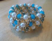 Gold Tone Stretch Cuff Bracelet with White Sea Shell Pearls and Turquois Crystal Beads