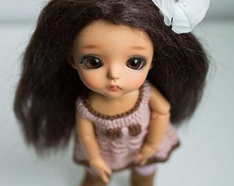 Mohair dark brown hard cap handmade lati yellow wig