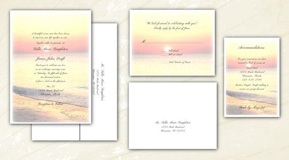 Sunrise Wedding Invitations: Beach Sunset Sunrise Wedding Invitations. Personalized With