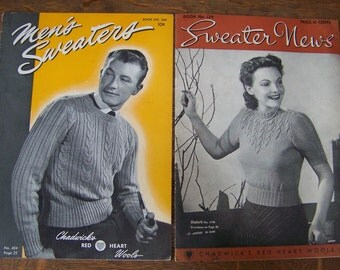 Vintage Men's Sweaters and Sweater News Magazines (set of 2) 1947 and 1939.Vintage Knitting Magazines.Chadwick's Red Heart Wools.