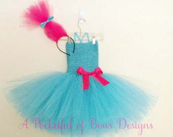 Troll Tutu Dress Costume with Hair Headband for Toddlers and Girls Birthday Outfit by A Pocketful of Bows