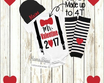 Valentine's Day Shirt Baby Boy Outfit My 1st Valentine's Day Bow Tie Suspenders Baby Boy Clothing Clothes Personalized Hat-BODYSUIT OR SHIRT