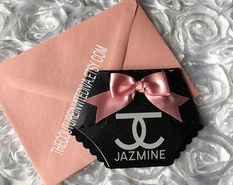Fashionista Diaper Baby Shower Invitation, Black & White Baby Onesie Invitation | Black, White and Pink Baby Shower Invitation