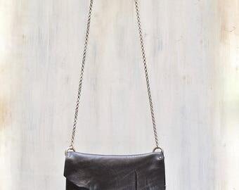 black leather crossbody bag, small black purse, leather clutch, italian leather bags