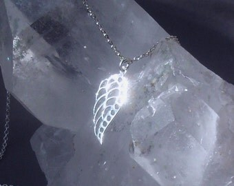 STERLING silver angel wing NECKLACE; sterling angel necklace, gift for women, gift for girls, angel wing talisman, bird wing, Christmas