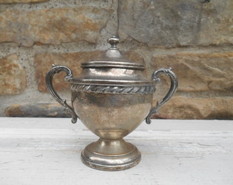 Antique Ornate Silverplate Sugar Bowl with Lid Covered Pot Silver on Copper Double Handles Loving Cup Trophy Shaped