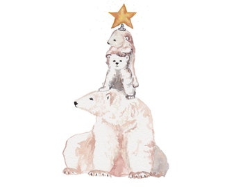 Bear tree pack of 5 holiday cards