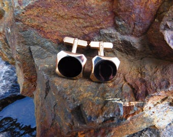 Vintage Swank Gold Toned Onyx Cuff Links - 1950's - from DustyMillerAntiques