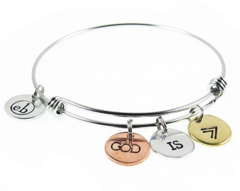 God is Greater - Than the Highs and Lows - Christian Hand Stamped Bangle Bracelet - Arrow Charm Bracelet - Expressions Bracelets Item