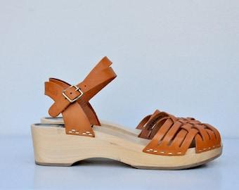 Vintage Platform Sandals - Wood Heels Platform - Hasbeens Swedish Sandals - Braided Leather Sandals - Boho Gypsy Hippie size 36 - US 6