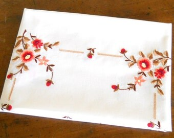 embroidered vintage tablecloth vintage tablecloth floral tablecloth orange flowers shabby chic
