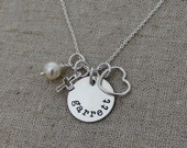 Personalized Mother's Necklace - Hand Stamped Name Necklace with Heart and Cross Charms