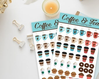 Stickers / Super Cute Coffee and Tea Stickers / Kawaii Stickers / Coffee Stickers, Tea Stickers, Starbucks Stickers / Planner Stickers