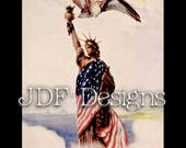 Instant Digital Download, Vintage Antique Graphic, Statue of Liberty Draped in USA Flag, Eagle Patriotic, Printable Image, America Americana